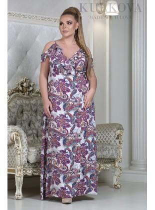 Платье RoyalSize Моана огурцы малина